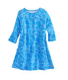 Girls Abstract Leaf Swing Dress