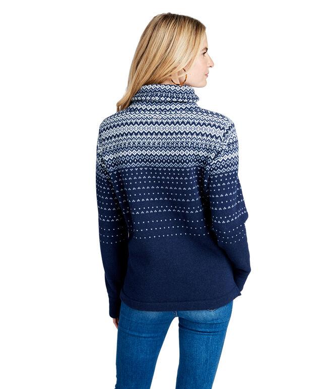 Fair Isle Sweater Fleece Relaxed Funnel Neck Shep Shirt
