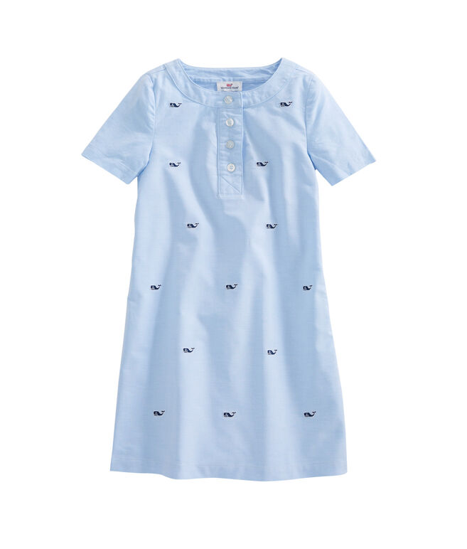 Girls Embroidered Oxford Shirt Dress