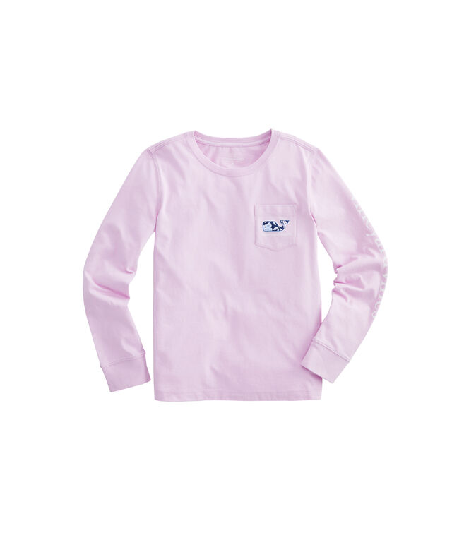 Girls Coastal Flora Whale Fill Long-Sleeve Pocket Tee