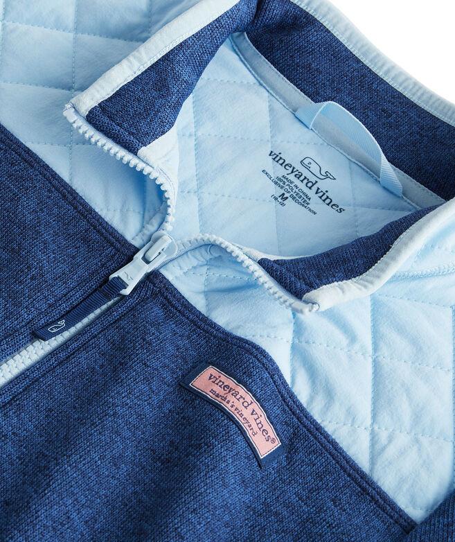 Girls Sweater Fleece Quilted Shoulder Full-Zip Jacket