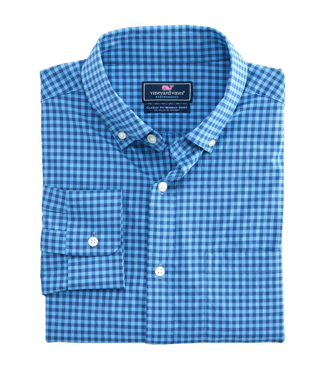 Big & Tall Performance Color-To-Color Gingham Classic Murray Shirt