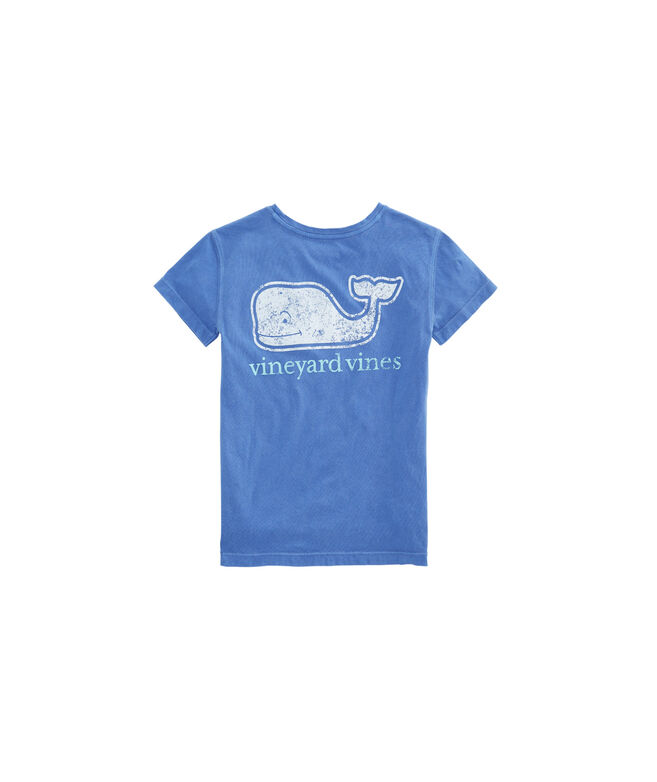 Girls Two-Tone Vintage Whale Pocket Tee