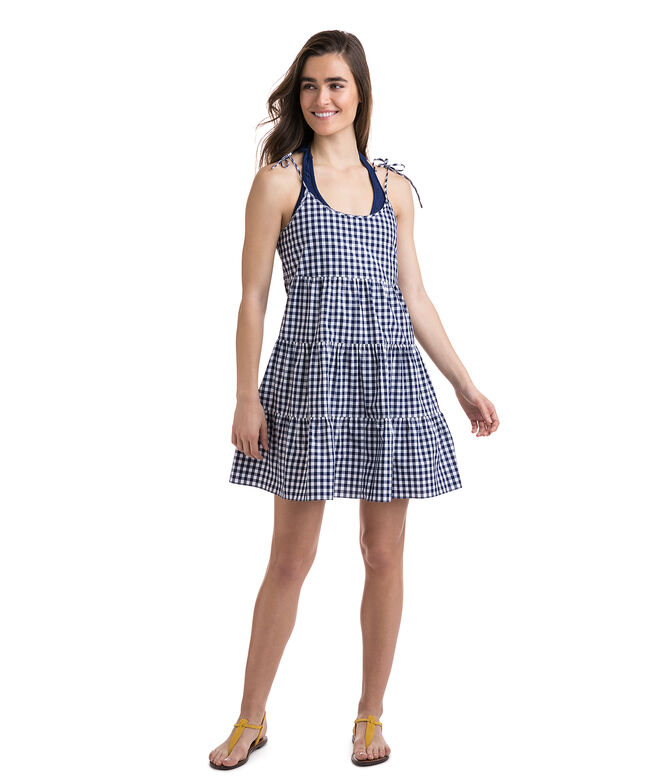 Tiered Gingham Beach Dress