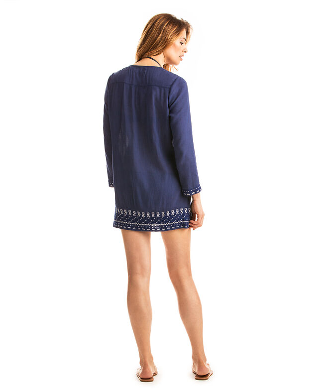 Solid Embroidered Tassel Cover-Up