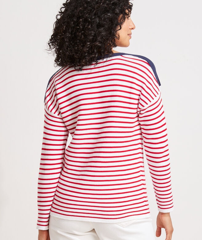 Cotton Striped Boatneck Sweater