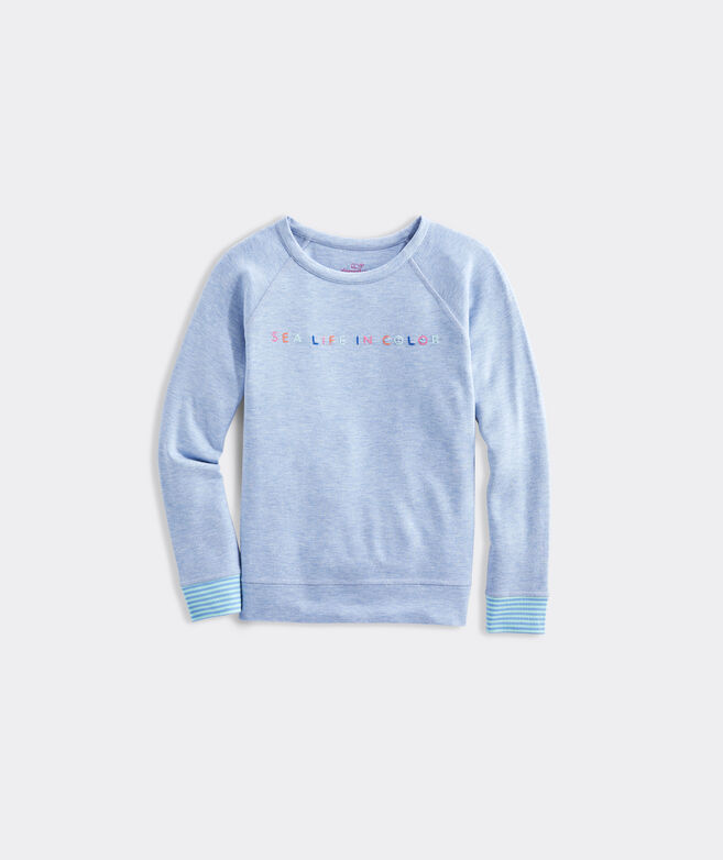 Girls' Dreamcloth Sea Life in Color Crewneck Pull-Over