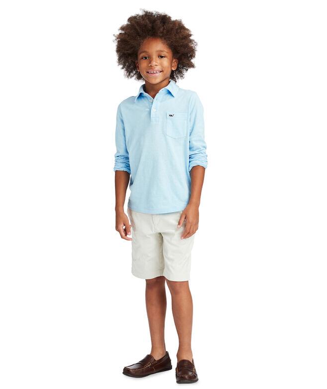 Boys Slub Knit Long-Sleeve Polo