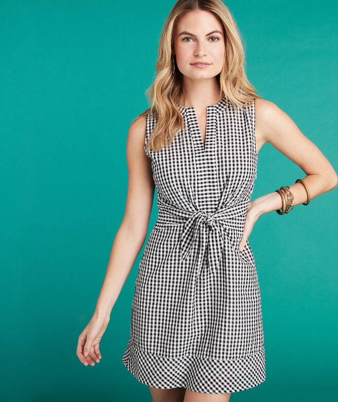 Gingham Seersucker Tie Front Dress