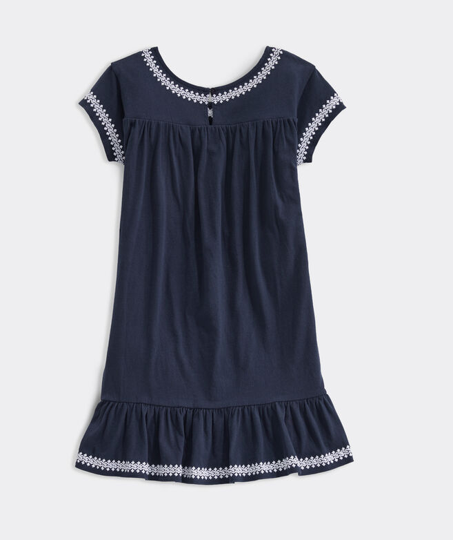 Girls' Island Lattice Embroidered Dress