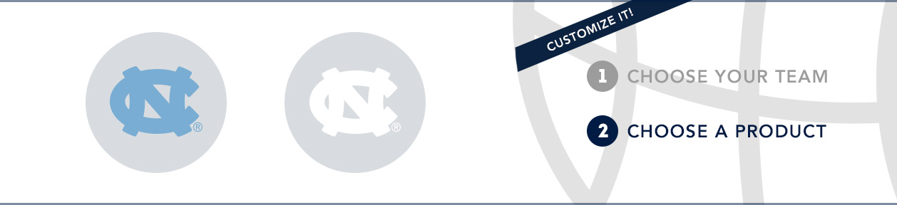 UNC Team Shop: 1) Choose your team. 2) Choose your product. Shop Here.