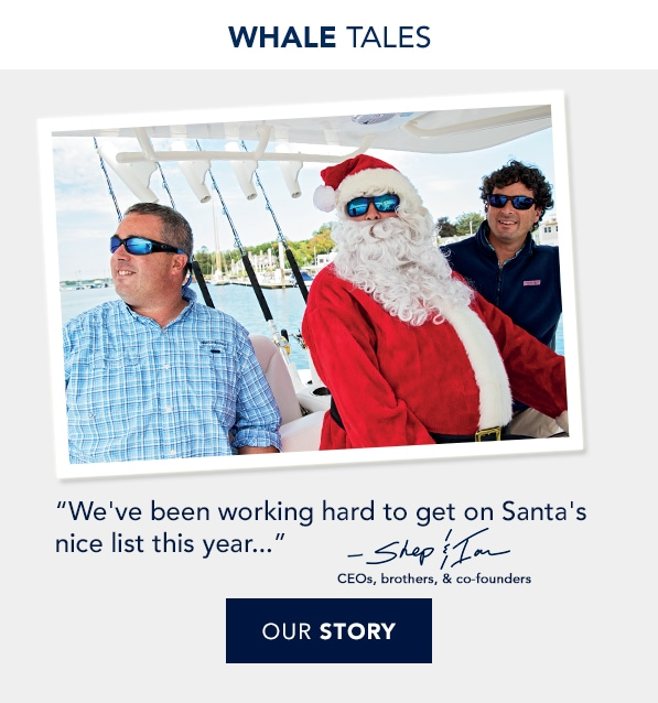 Whale Tales. Shep & Ian ride on a boat with Santa. Read our story.