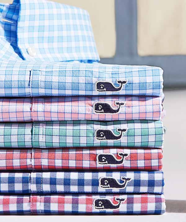 stack of gingham shirts