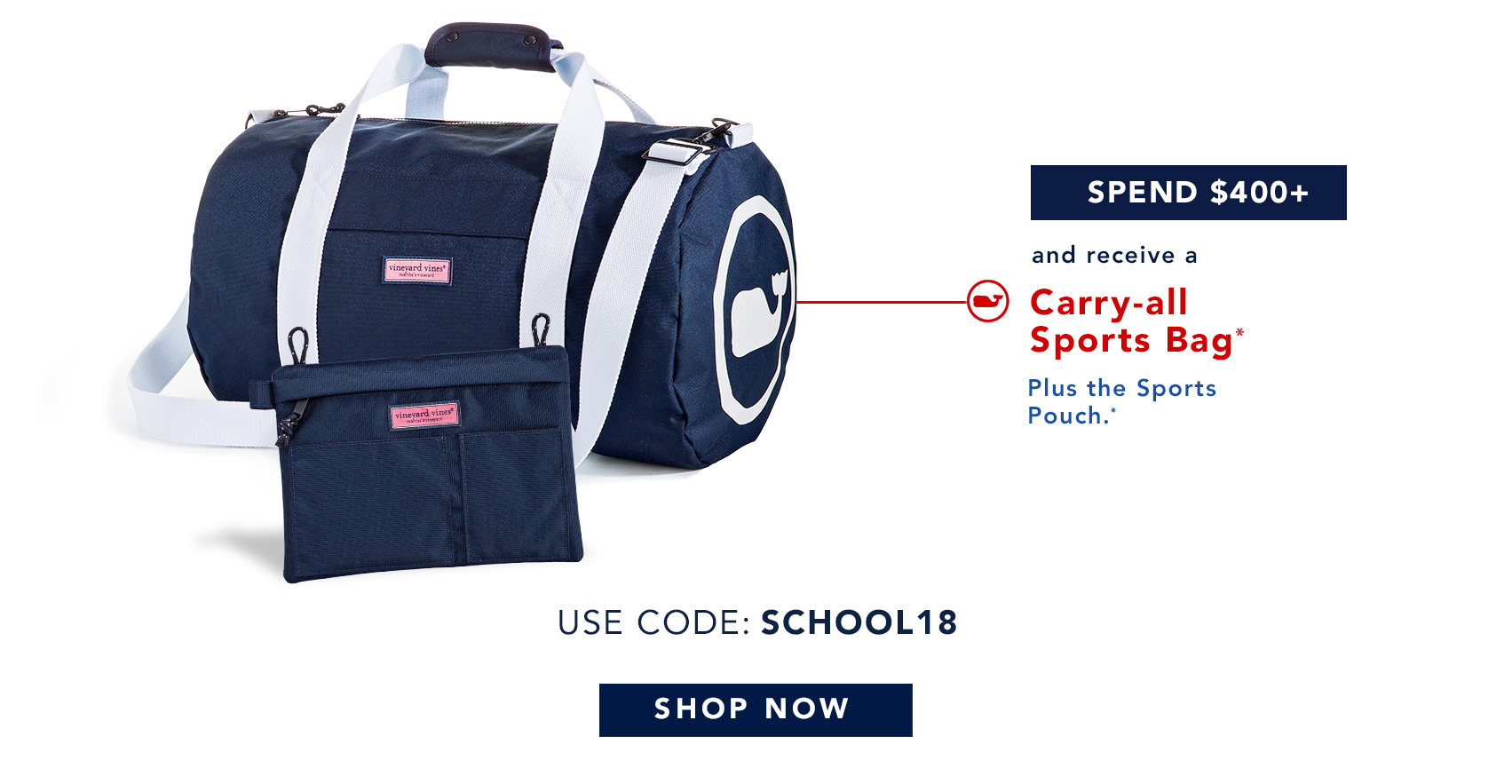 Spend $400+ and receive a Carry-all Sports Bag* Plus the Sports Pouch.