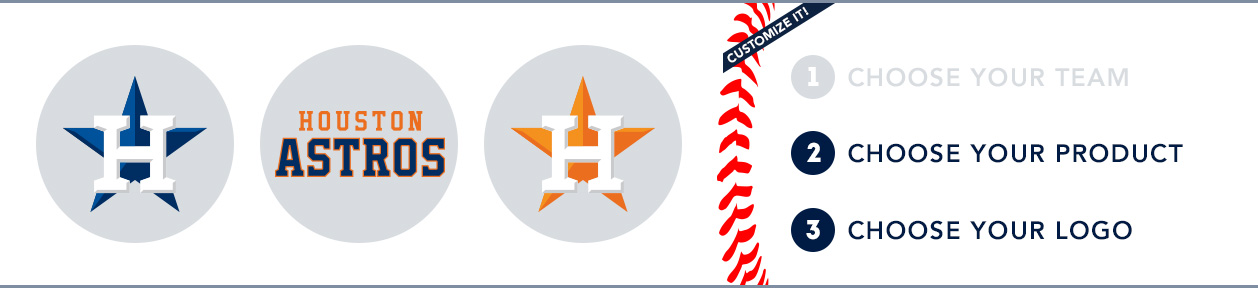 Houston Astros Custom MLB Shop: 1) Choose your team. 2) Choose your product. 3) Choose your logo