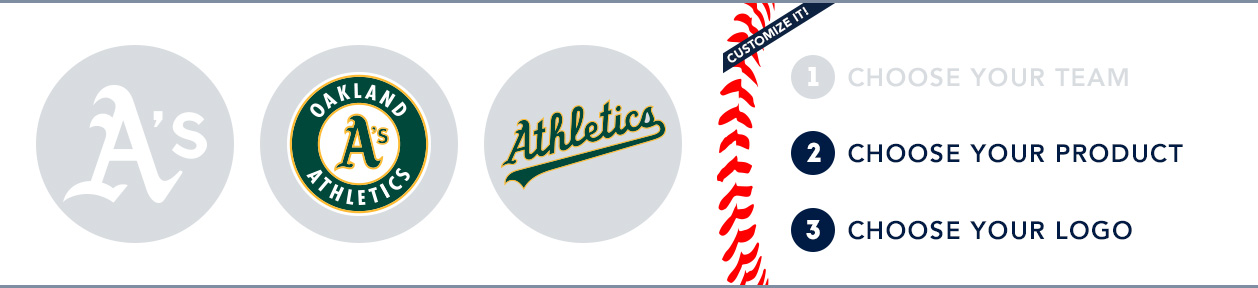 Oakland A's Custom MLB Shop: 1) Choose your team. 2) Choose your product. 3) Choose your logo