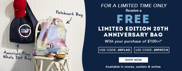 For a limited time only, receive a FREE Limited Edition 20th Anniversary Bag with your Purchase of $100+! Use code:20Flag for Flag Whale tote and Use Code:20Patch for Patchwork Tote. Shop Now. Available in stores, outlets and online.