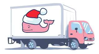 Photo of a shipping truck with a santa whale logo on it