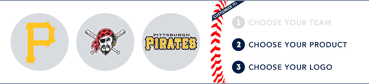 Pittsburgh Pirates Custom MLB Shop: 1) Choose your team. 2) Choose your product. 3) Choose your logo