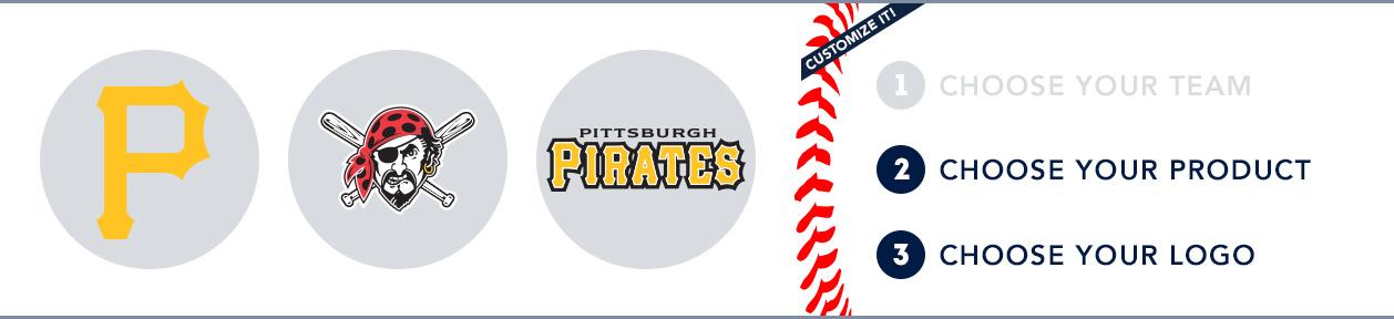 Pittsburgh Pirates Custom MLB Shop: 1) Choose your team. 2) Choose your product. 3) Choose your logo