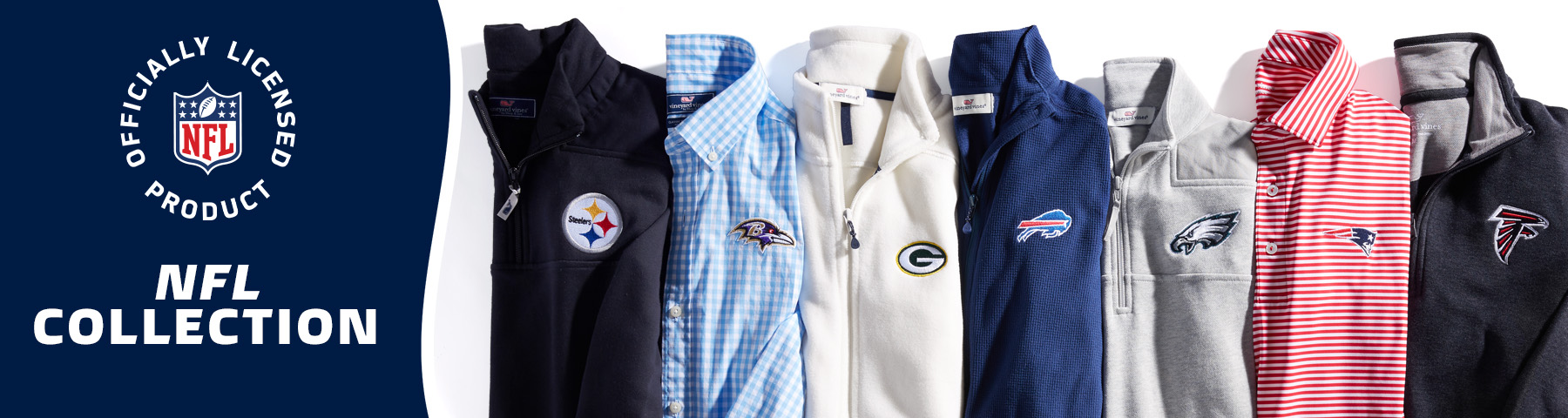 You can now customize vineyard vines official NFL products! Start by choosing your team below.
