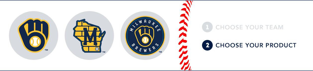 Milwaukee Brewers Custom MLB Shop: 1) Choose your team. 2) Choose your product. 3) Choose your logo