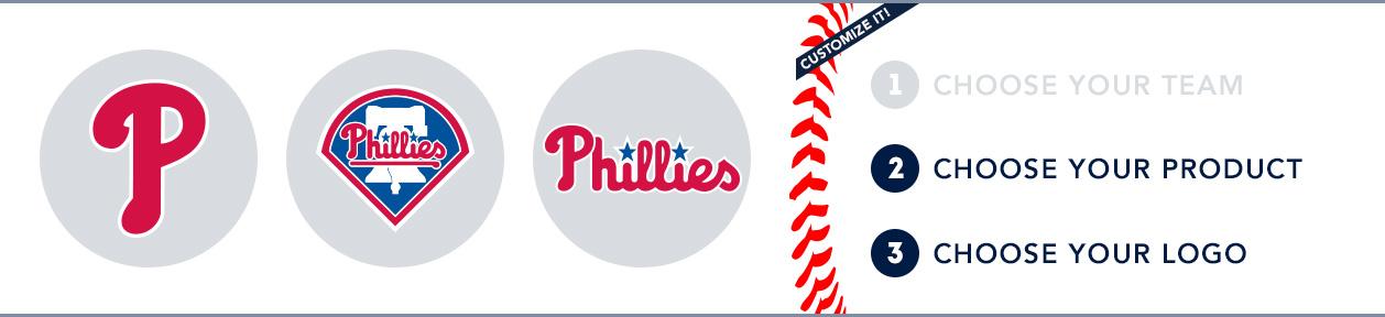 Philadelphia Custom MLB Shop: 1) Choose your team. 2) Choose your product. 3) Choose your logo