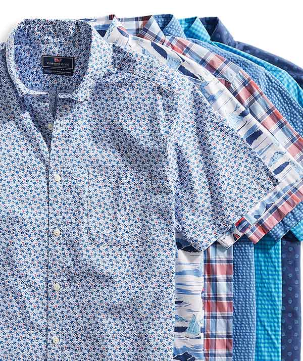 an assortment of vineyard vines button downs