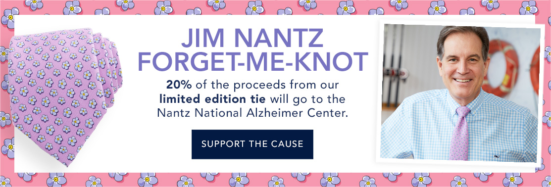 Jim Nantz Forget-Me-Knot Tie. 20% of the proceeds from our limited edition tie will go to the Nantz National Alzheimers Center. Click here to support the cause.