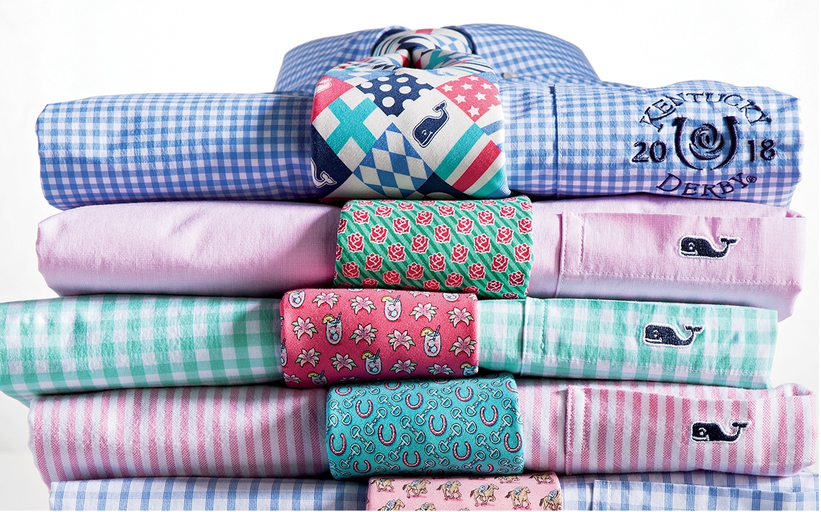 Kentucky Derby themed men's shirts and ties.