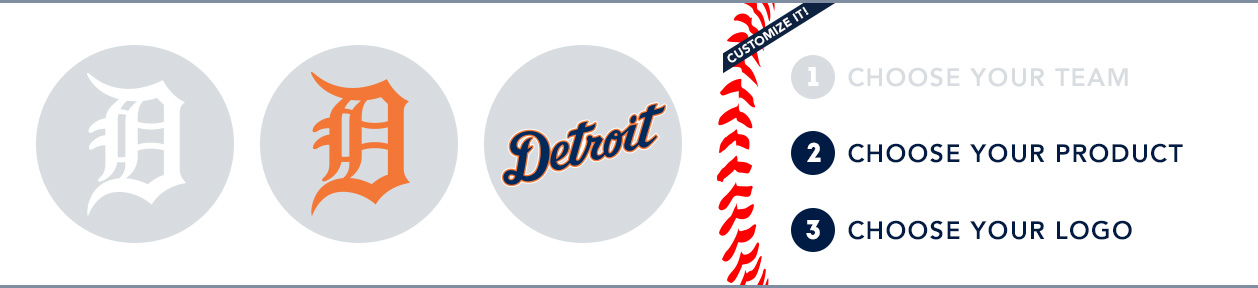 Detroit Tigers Custom MLB Shop: 1) Choose your team. 2) Choose your product. 3) Choose your logo