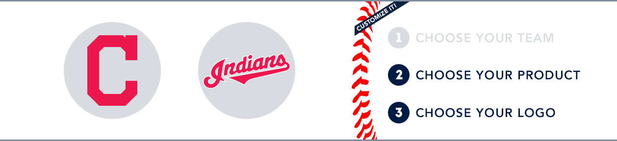 Cleveland Indians Custom MLB Shop: 1) Choose your team. 2) Choose your product. 3) Choose your logo