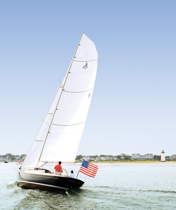 sail boat in the water in edgartown