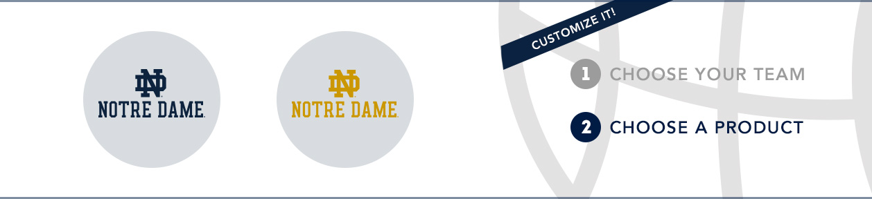 Notre Dame Team Shop: 1) Choose your team. 2) Choose your product. Shop Here.