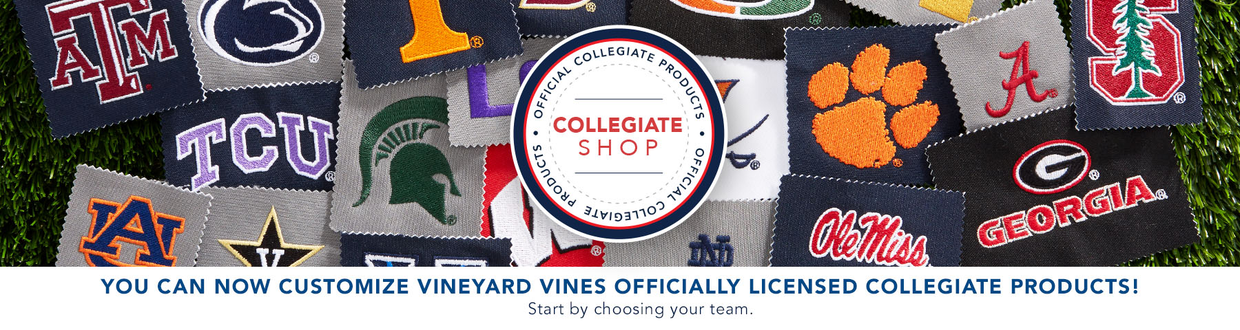 You can now customize vineyard vines officially licensed Collegiate products! Start by choosing your team below.