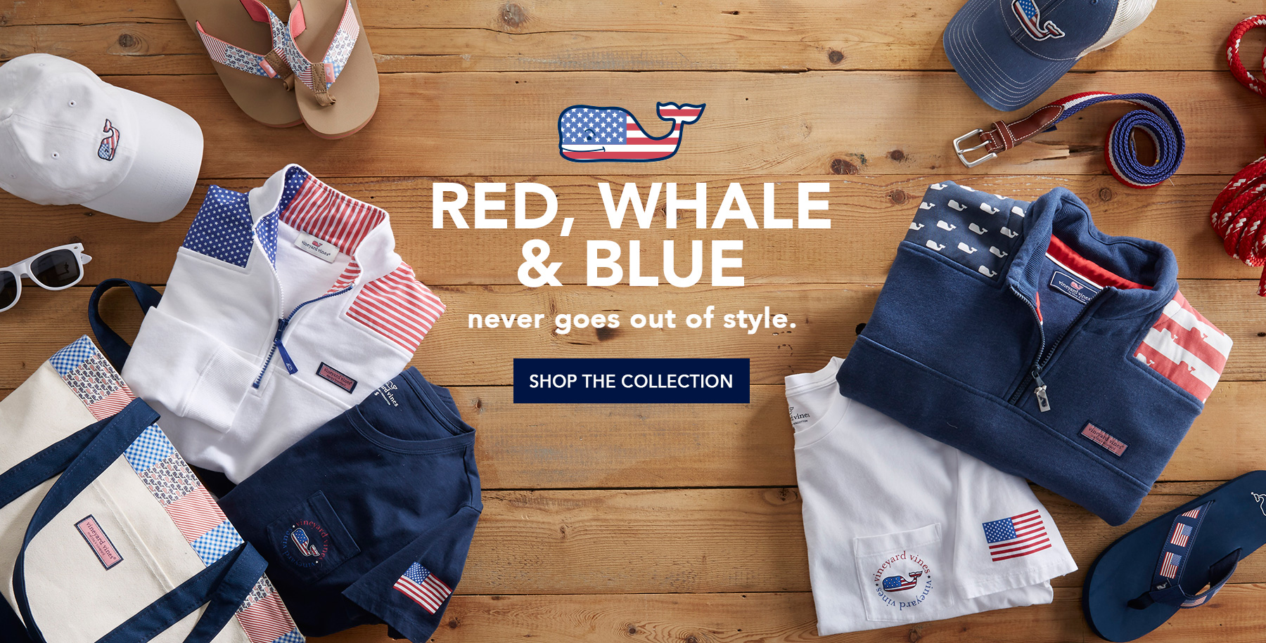 Red, whale & Blue never goes out of style. Shop the collection.
