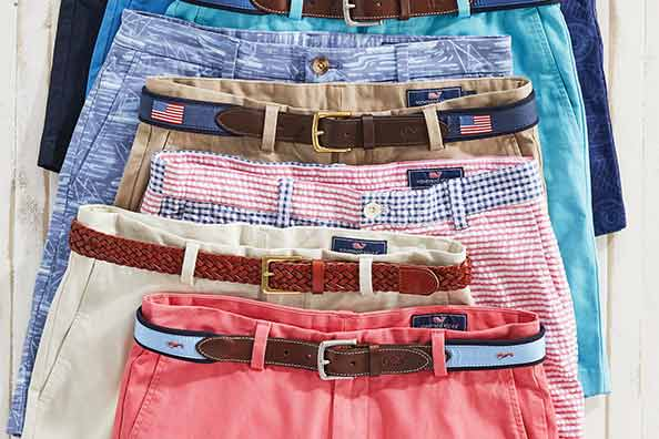 assortment of vineyard vines shorts with belts