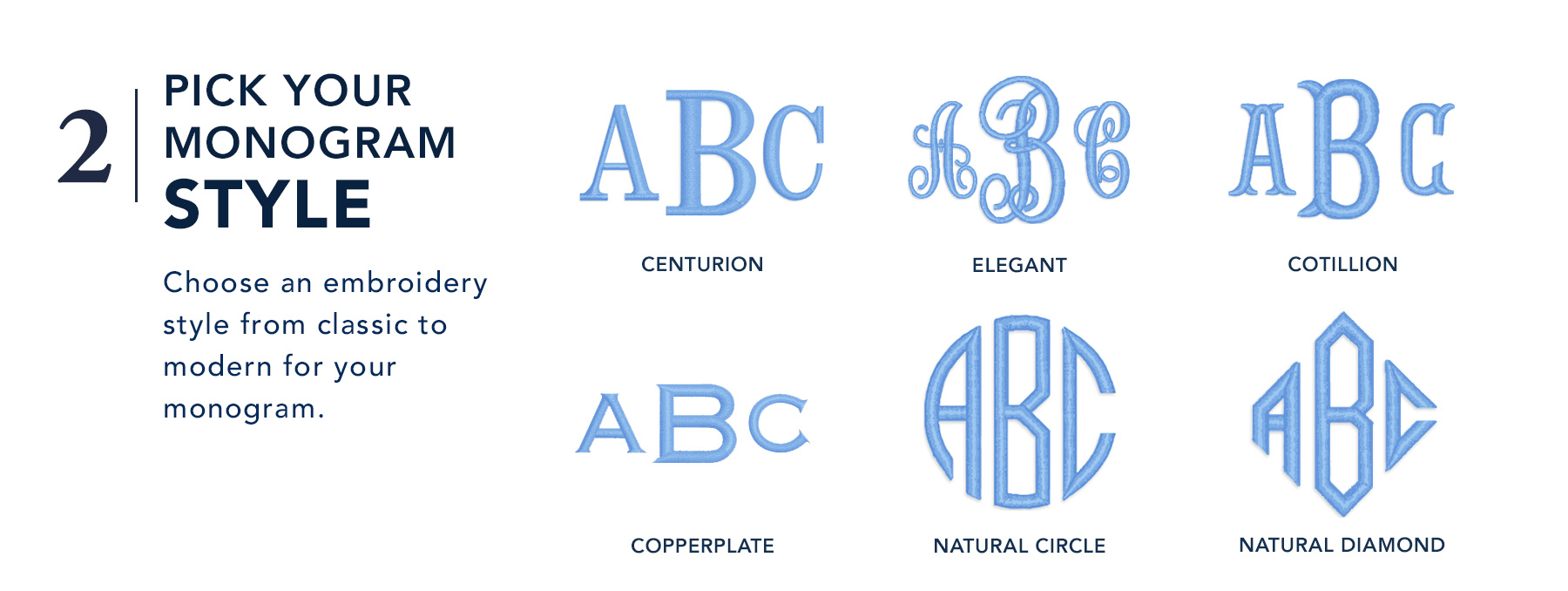 2. Pick your monogram style - Choose an embroidery style from classic to modern for your monogram.