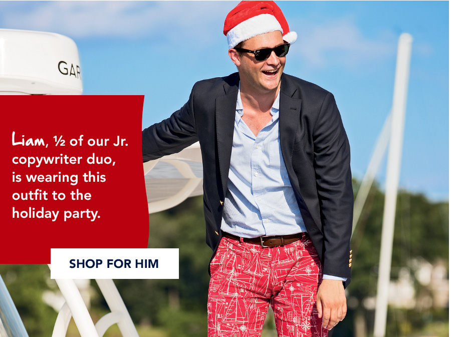 Liam, 1/2 of our Jr. copywriter duo, is wearing this outfit to the holiday party. Shop for him.