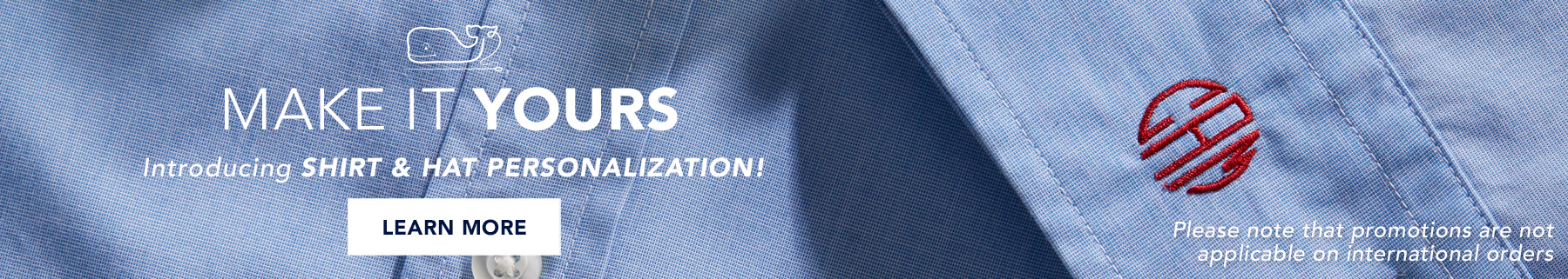 Make your mark. Introducing shirt & hat personalization. Learn more.