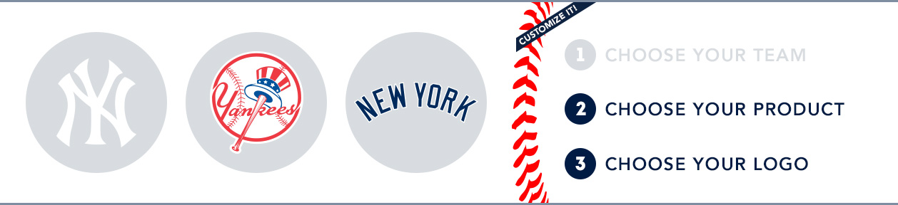 New York Yankees Custom MLB Shop: 1) Choose your team. 2) Choose your product. 3) Choose your logo