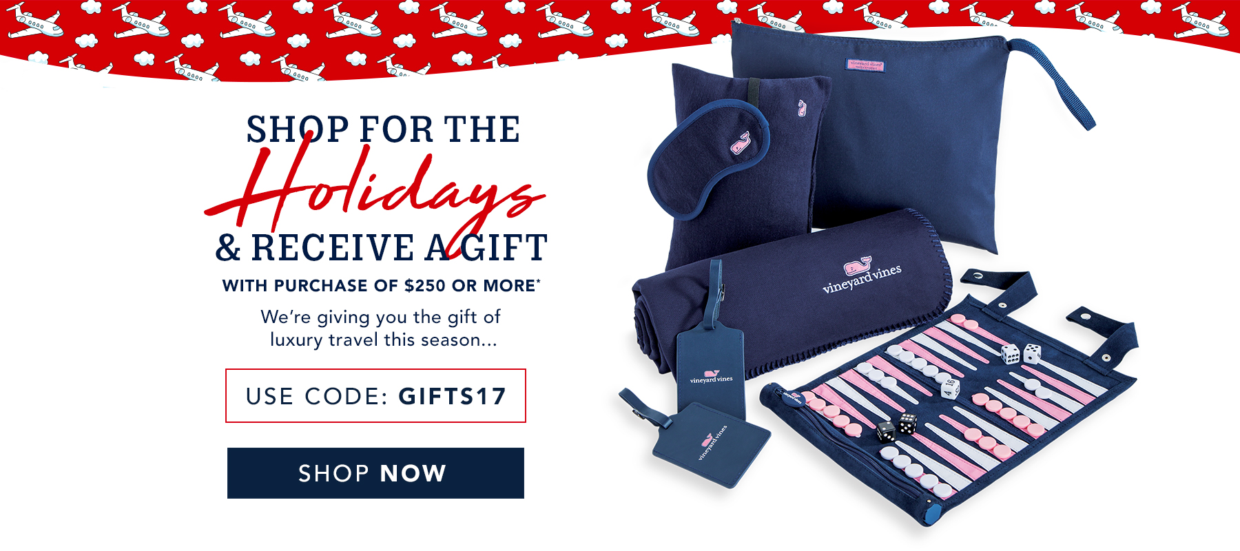 Shop for the holidays and recieve a gift with a purchase of $250 or more. Use code GIFTS2017. Shop now.