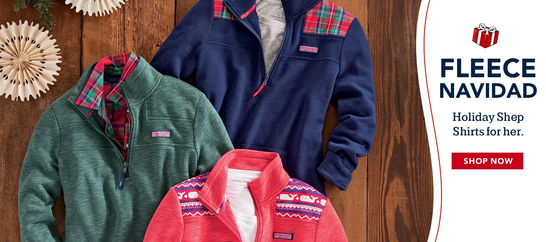 >Fleece Navidad. Holiday shep shirts for her.