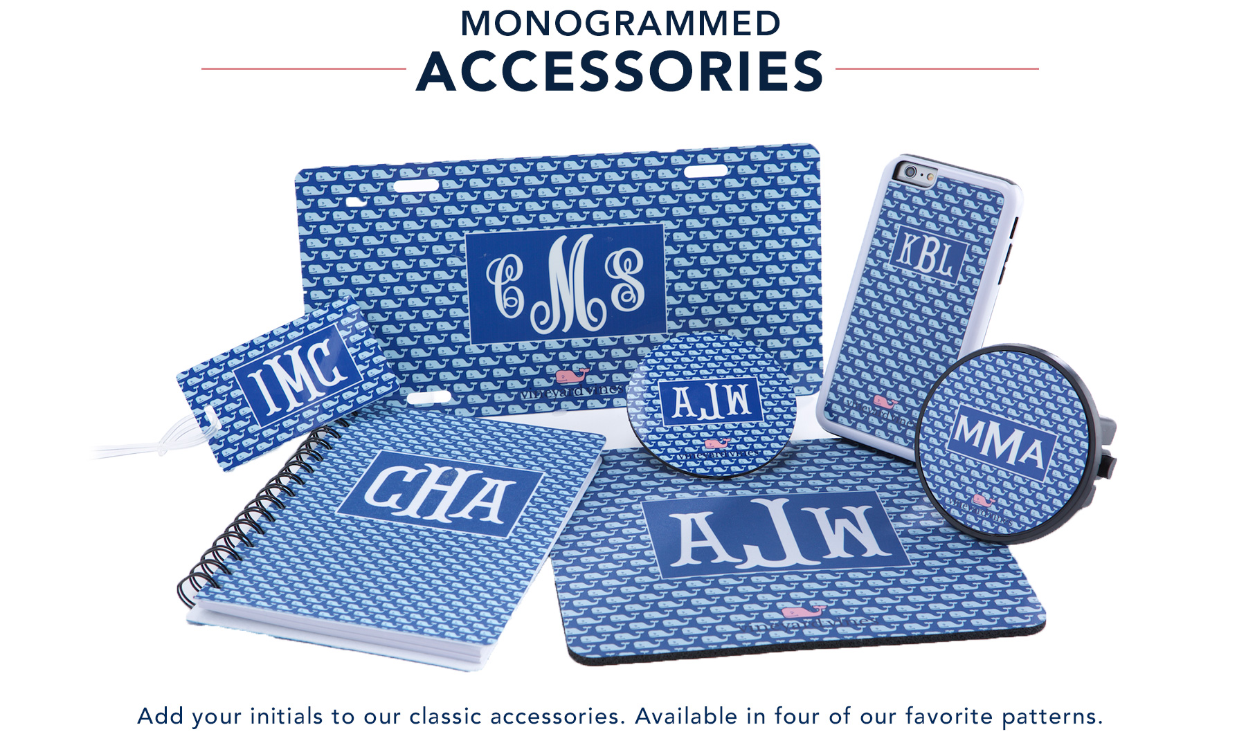 Monogrammed Accessories: Add your initials to our classic accessories.