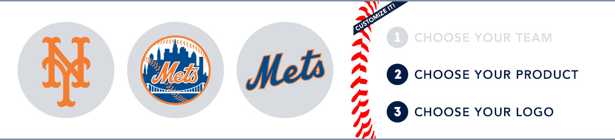 New York Mets Custom MLB Shop: 1) Choose your team. 2) Choose your product. 3) Choose your logo