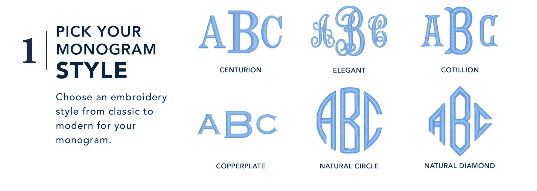 1. Pick your monogram style - Choose an embroidery style from classic to modern for your monogram: Centurion, Elegant, Cotillion, Copperplate, Natural Circle, or Natural Diamond.