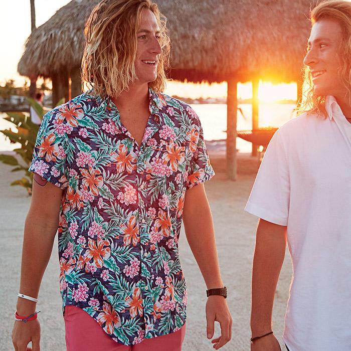 men on the beach wearing short-sleeve murray shirts