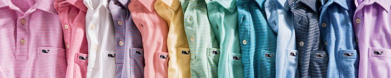 an assortment of colorful polos from vineyard vines' edgartown collection