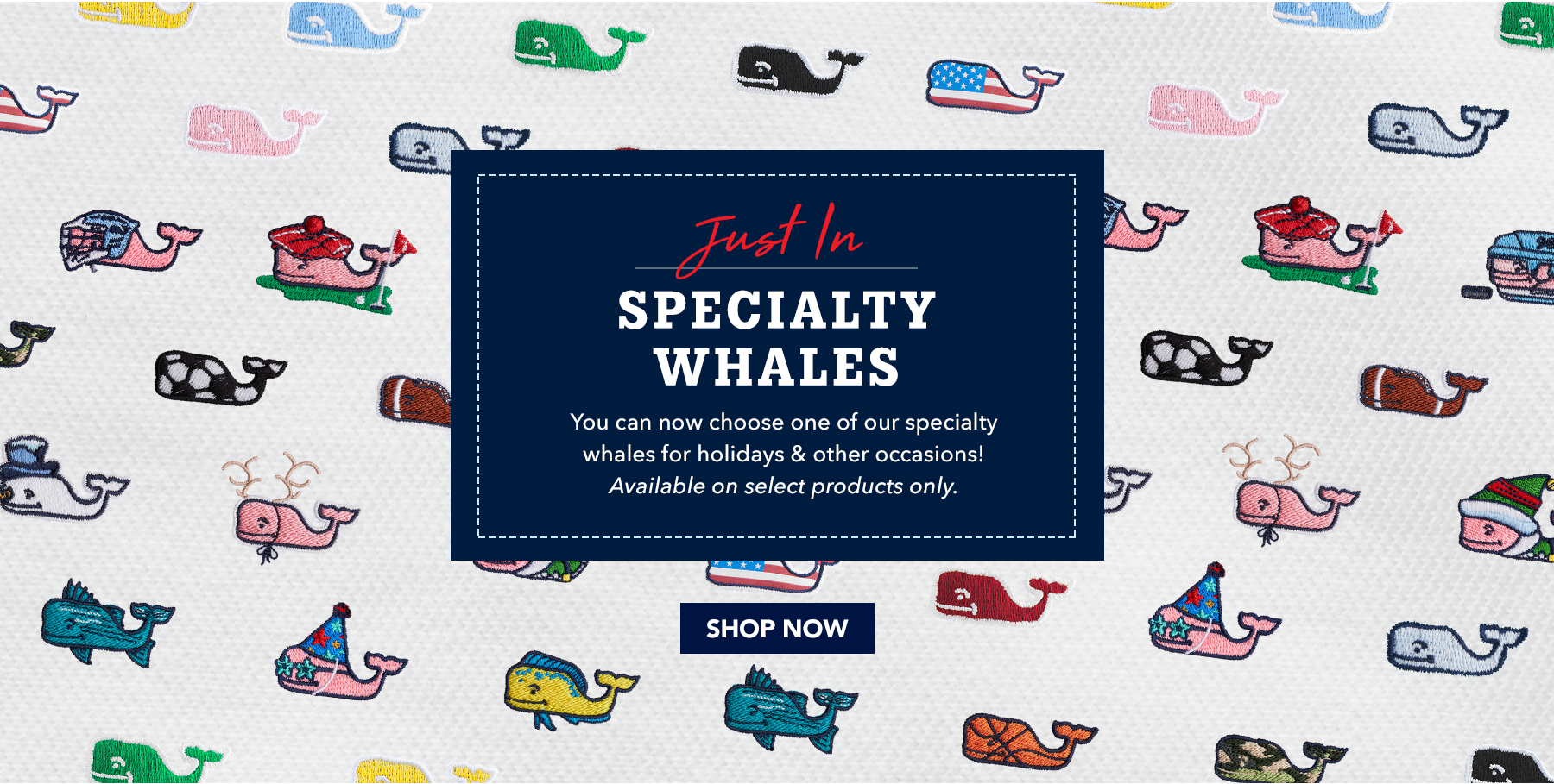 Just in specialty whales. You can now choose one of our specialty whales for holidays & other occasions. Avalable on select products only. Shop now.
