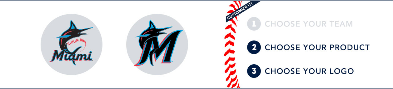 Miami Marlins Custom MLB Shop: 1) Choose your team. 2) Choose your product. 3) Choose your logo
